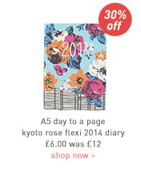a5 day to a page kyoto rose flexi 2014 diary