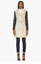 MACKAGE Beige leather-sleeved Avra Trenchcoat for women
