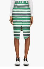 THOM BROWNE Green Striped Front Vent Pencil Skirt for women