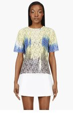 MSGM Yellow & Blue Short Sleeve Lace Blouse for women