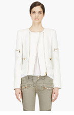 BALMAIN White Lambskin Quilted Jacket for women