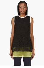 MSGM Black & Yellow Lace Long Tank Top for women