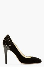 BRIAN ATWOOD Black Suede & Leather Studded Jaida Pumps for women