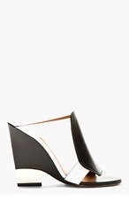 GIVENCHY Black & White Leather Wedge Sandals for women