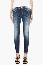 DSQUARED2 Blue Distressed & paint-splattered Authentic Cool Girl Jeans for women