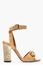 DOLCE & GABBANA Brown Straw & Snake Print Bejeweled Heels for women