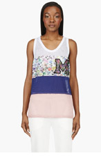 MSGM Navy Colorblocked Mesh Tank Top for women