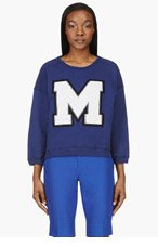MSGM Blue Classic Letter Sweater for women