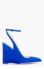 BRIAN ATWOOD Blue Suede Slingback Wedges for women