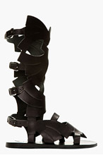 CARVEN Black Leather Ancient Greek Sandals Edition Gladiator Sandals for women
