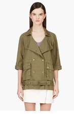 CURRENT/ELLIOTT Green Cropped Sleeve Infantry Jacket for women