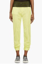 MSGM Chartreuse Mesh Trousers for women