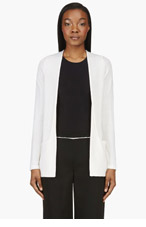 CALVIN KLEIN COLLECTION Ivory Cashmere & silk Raw lines Maria Cardigan for women
