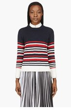 THOM BROWNE Navy Striped Knit Sweater for women