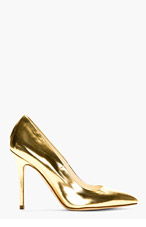 BRIAN ATWOOD Gold Leather Pumps for women