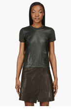 CALVIN KLEIN COLLECTION Deep green Leather & Cashmere Michelle T-shirt for women