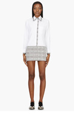 THOM BROWNE White Piqué & Grey overcheck tweed dress for women