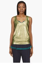 SACAI LUCK Gold Layered Lingerie Tank Top for women