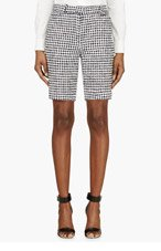 THOM BROWNE Black & White Tweed Shorts for women