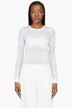 CALVIN KLEIN COLLECTION White Semi-sheer Engineered Stripes Sweater for women
