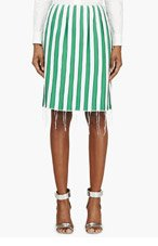 THOM BROWNE Green Silk Pressed Seam Skirt for women