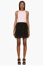 MSGM Pink & Black Perforated Bodice Dress for women