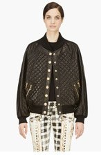 BALMAIN Black QUilted Leather Bomber JAcket for women