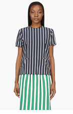 THOM BROWNE Navy Striped Matte Silk Inside-Out Blouse for women
