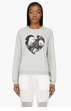 MSGM Heather Grey Heart Graphic Sweater for women