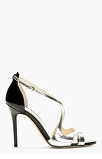 BRIAN ATWOOD Silver Patent Leather Heeled Sandals for women