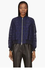 SACAI LUCK Navy Broderie Anglaise Bomber Jacket for women