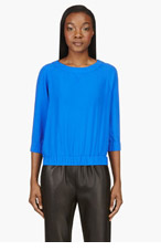 BAND OF OUTSIDERS Cobalt Silk Crewneck Blouse for women