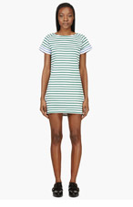 SACAI LUCK Green & White Contrast Stripe Dress for women