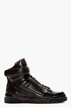 GIVENCHY Black Leather Tyson High-Top Sneakers for women