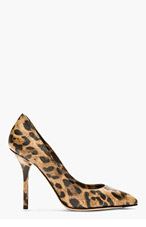 DOLCE & GABBANA Tan Grained Leather Leopard Print Pump for women