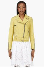 MSGM Chartreuse Suede Biker Jacket for women