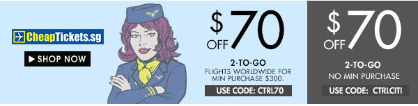 Get $70 off Cheaptickets.sg!