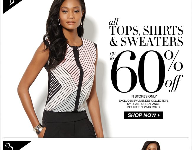 All Tops, Shirts, & Sweaters Up to 60% Off!