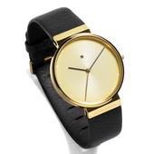 Dimension Watch Men, Champagne/Gold, Black leather