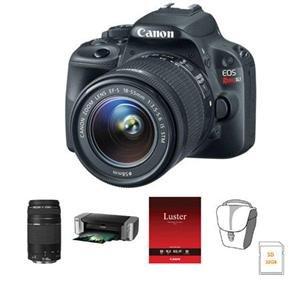"Adorama - Canon EOS Rebel SL1 DSLR Camera 2 Lens Kit with EF-S 18-55mm f/3.5-5.6 IS STM Lens, and EF 75-300mm F/4-5.6 III Lens - Bundle - with 32GB SDHC Card, Camera Bag, Canon PIXMA PRO-100 Injet Printer, and Canon SG-201 Photo Paper Plus Semi-Gloss 13x19"" 50 Sheets"