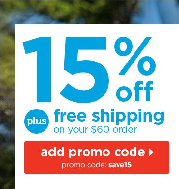 15% off plus free shipping on your $60 order