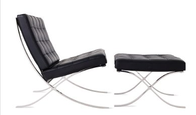 BARCELONA® CHAIR AND STOOL (1929) Designed by Ludwig Mies van der Rohe, produced by Knoll® IN STOCK