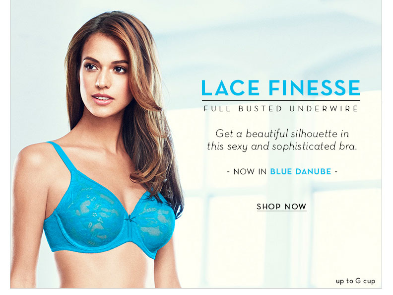 Lace Finesse Full Figure Bra. Now in Blue Danube! Up to G Cup.