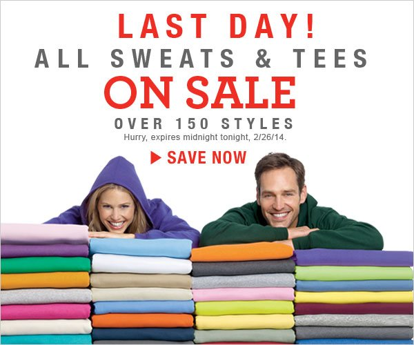 Last Day: Tees as low as $5.49 & Sweats as low as $7.99.