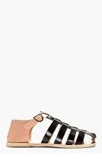 CARVEN Black & Nude Leather Sandals for men