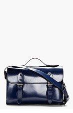 CARVEN Navy Leather Messenger Bag for men