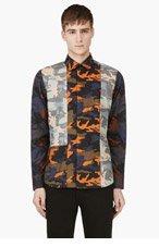 GIVENCHY Navy & Orange Camo Button Down Shirt for men