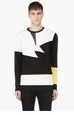 PYER MOSS Black & White Leather Panel Shirt for men