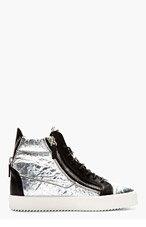 GIUSEPPE ZANOTTI Silver Foil & Black Leather High Top Sneakers for men
