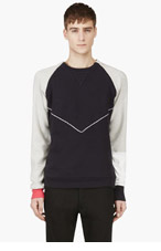 PYER MOSS Navy Panelled Leather Accent Sweater for men